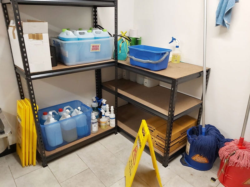 Cloverdale floor care chemicals cleaning cupboard
