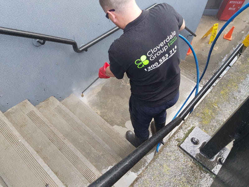 Cloverdale exterior stairs wand pressure cleaning services